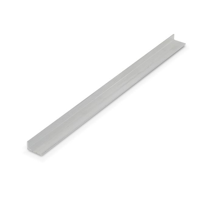 1/4in x 1/2in x 3/64in (.050in) Thick | Mechanical Polished Finish Aluminum Uneven Leg | 90° Angle Moulding | 12ft Length