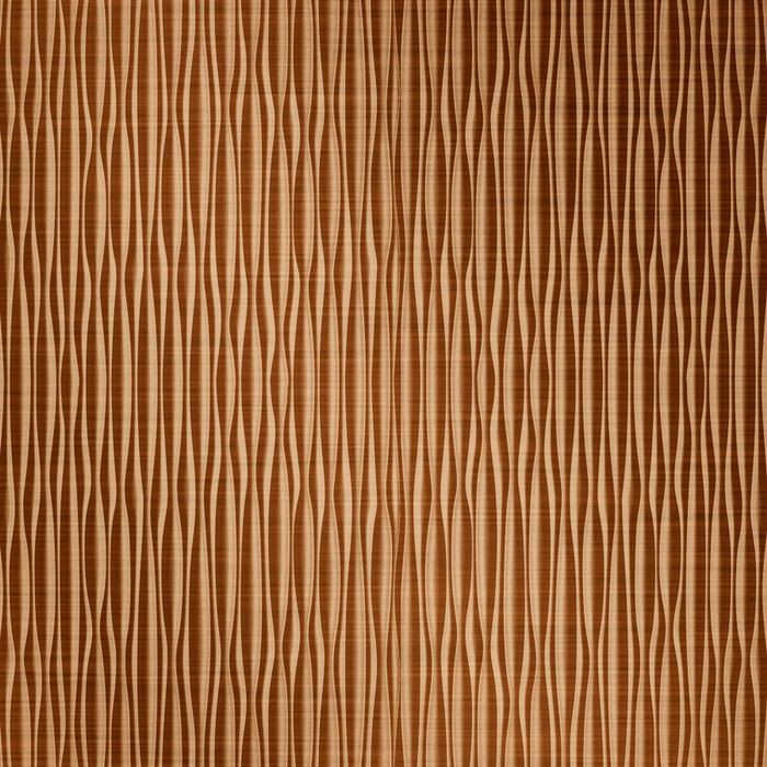 FlexLam 3D Wall Panel | 4ft W x 10ft H | Mojave Pattern | Brushed Copper Vertical Finish