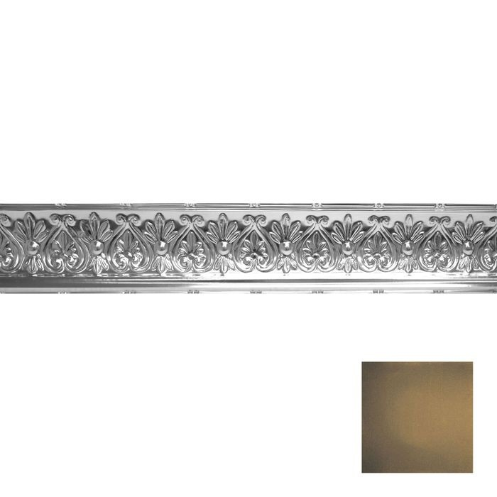 Tin Plated Stamped Steel Cornice | 6-1/4in H x 6-5/8in Proj | Midnight Gold Finish | 4ft Long