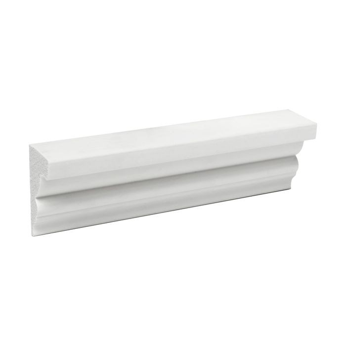 1-1/2in Face x 1-3/4in H x 1-1/8in Proj | Primed White High Density Polystyrene | Crown Moulding | 6in Sample Piece