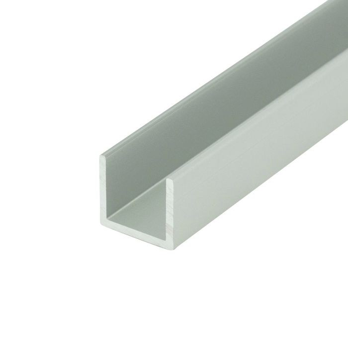 "1/2"" Clear Anodized (Satin) Finish Aluminum U Channel Moulding 12' Length"