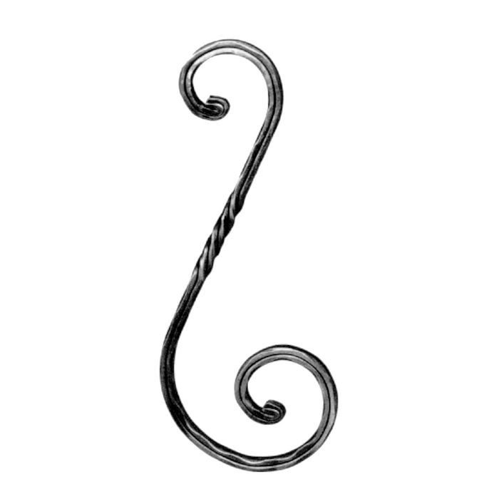 "1/2"" Square x 6-1/8"" W x 15-3/4"" H Wrought Iron Scrolls"