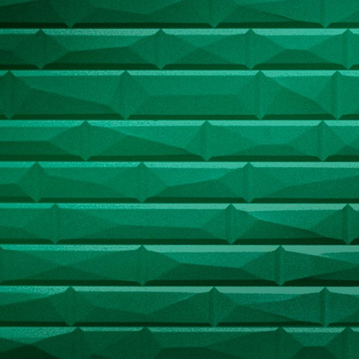 FlexLam 3D Wall Panel | 4ft W x 10ft H | Vista Pattern | Mirror Green Finish