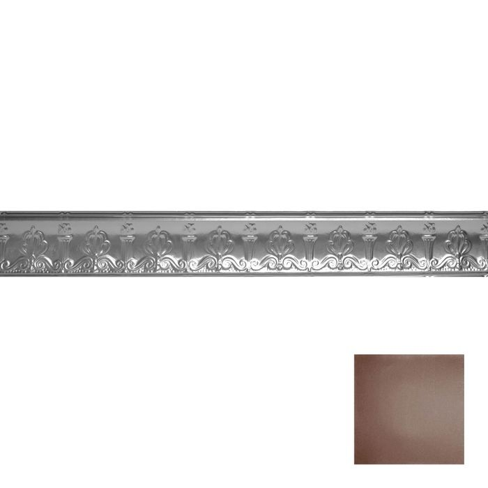 Tin Plated Stamped Steel Cornice | 4in H x 4in Proj | Marsala Pewter Finish | 4ft Long