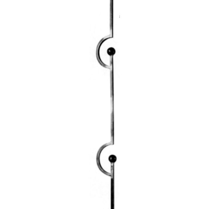 "1/2""  Square x 3-15/16"" W x 39-3/8"" H Wrought Iron Bal"
