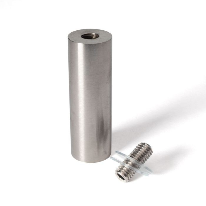 "1"" Diameter x 3"" Barrel Length Brushed Stainless Eco Solid Barrels Series Easy Fasten Standoff With 1"" Stem"