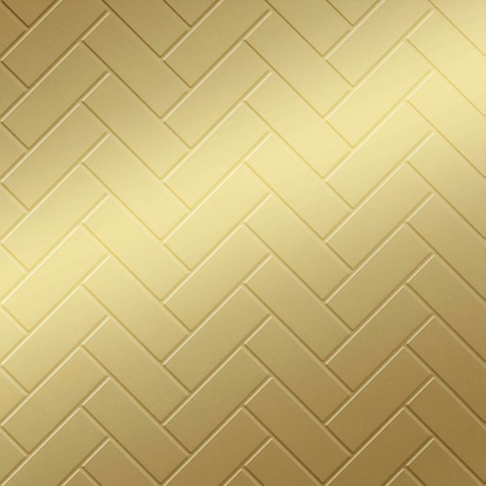 FlexLam 3D Wall Panel | 4ft W x 10ft H | Herringbone Pattern | Mirror Gold Finish