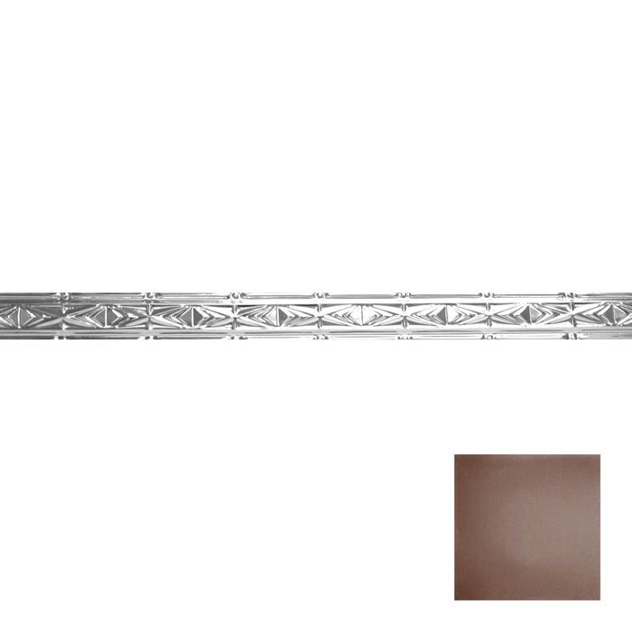 Tin Plated Stamped Steel Cornice | 3-1/2in H x 3in Proj | Marsala Pewter Finish | 4ft Long
