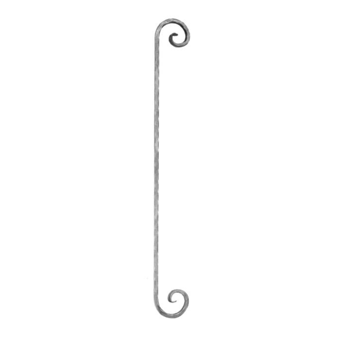 "1/2"" Square x 4-5/16"" W x 35-7/16"" H Wrought Iron Curved Balusters"