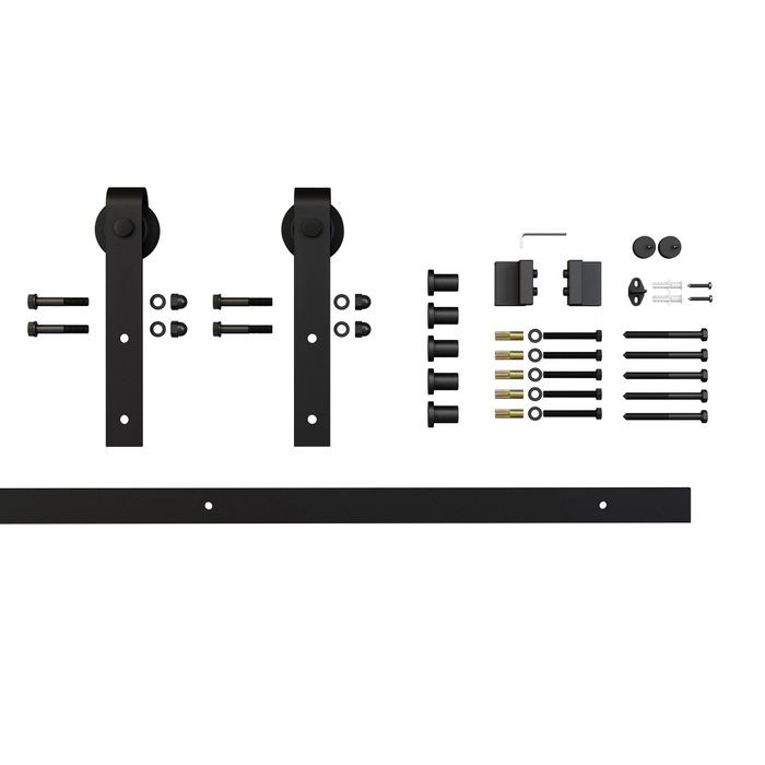 Sliding Barn Door Hardware Kits for Single Wood Doors Up to 39in W | Black Powder Coated Finish | Routed | 78in Rail Length