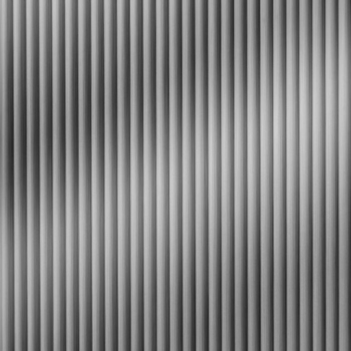 10' Wide x 4' Long Rib2 Pattern Brushed Stainless Finish Thermoplastic FlexLam Wall Panel