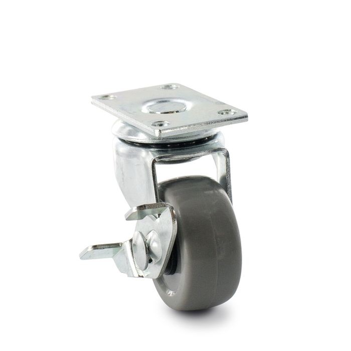 1-1/2in Dia | Grey Swivel Imported Single Wheel Series Industrial Caster with Brake | 1-3/16 x 2in Rectangular Top Plate