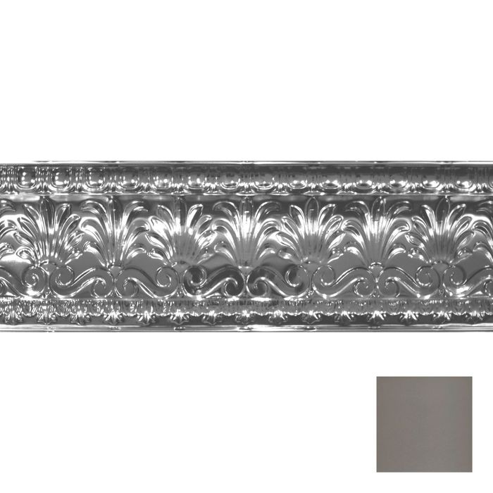 Tin Plated Stamped Steel Cornice | 10-1/2in H x 10-1/2in Proj | Silver Grey Finish | 4ft Long