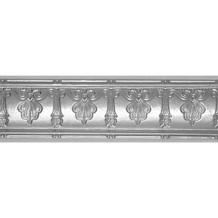Tin Plated Stamped Steel Cornice | 4in H x 6-1/2in W x 4in Proj | Steel Finish | 4ft Long
