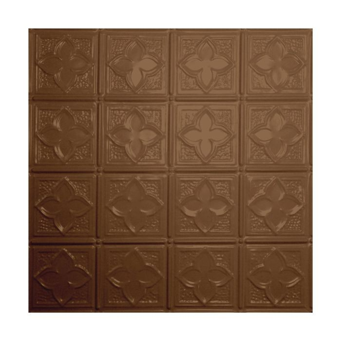Tin Plated Stamped Steel Ceiling Tile | Lay In | 2ft Sq | Maple Finish