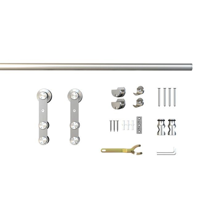 Sliding Barn Door Hardware Kits for Single Wood Doors Up to 39in W | Stainless Steel Finish | Routed | 78-3/4in Rail Length | SW12 Series