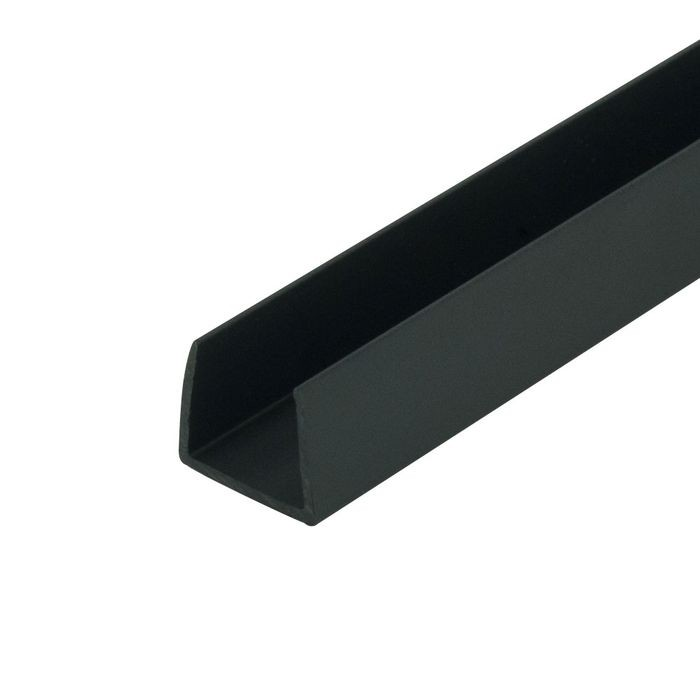 1/2in | Black Rigid Styrene | U Channel Moulding | 12ft Length