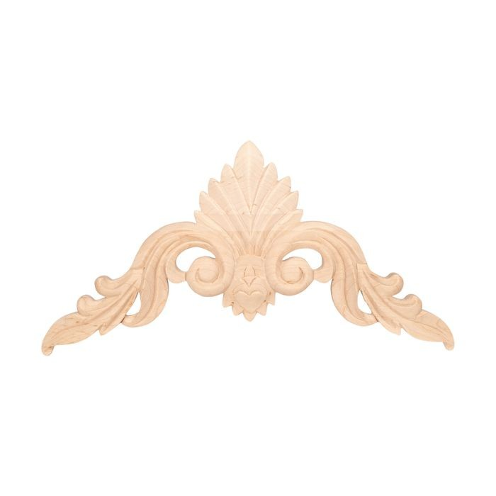 10-7/8in W x 5-1/2in H | Hand Carved | Solid North American Hard Maple Cartouche Applique | RWC23 Series