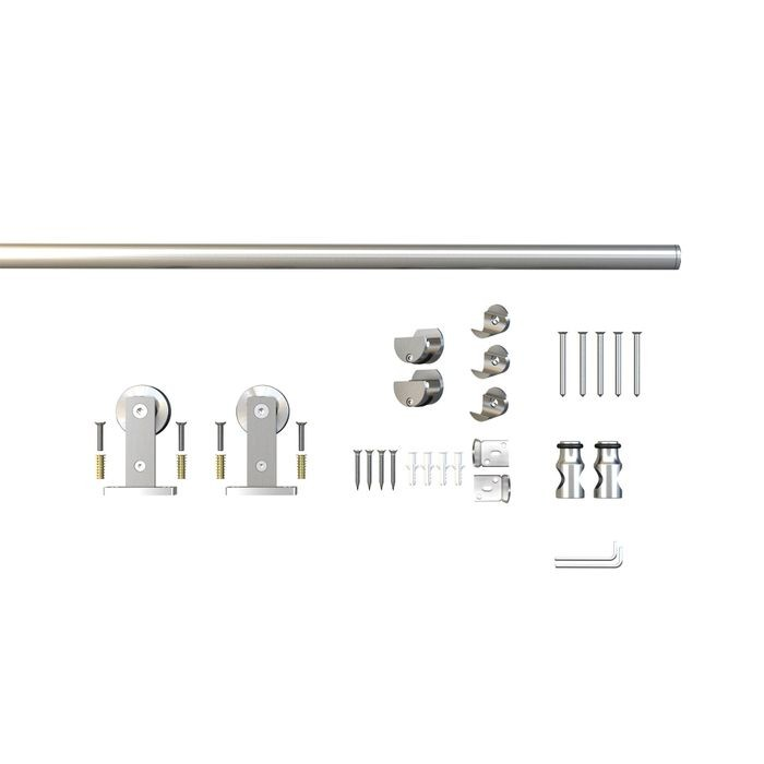 Sliding Barn Door Hardware Kits for Single Wood Doors Up to 48in W | Stainless Steel Finish | Non Routed | 96in Rail Length