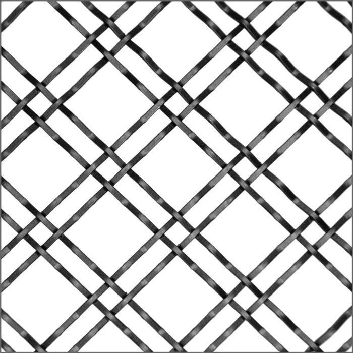 2 X 6 Square Intercrimp Satin Nickel Woven Wire Grill