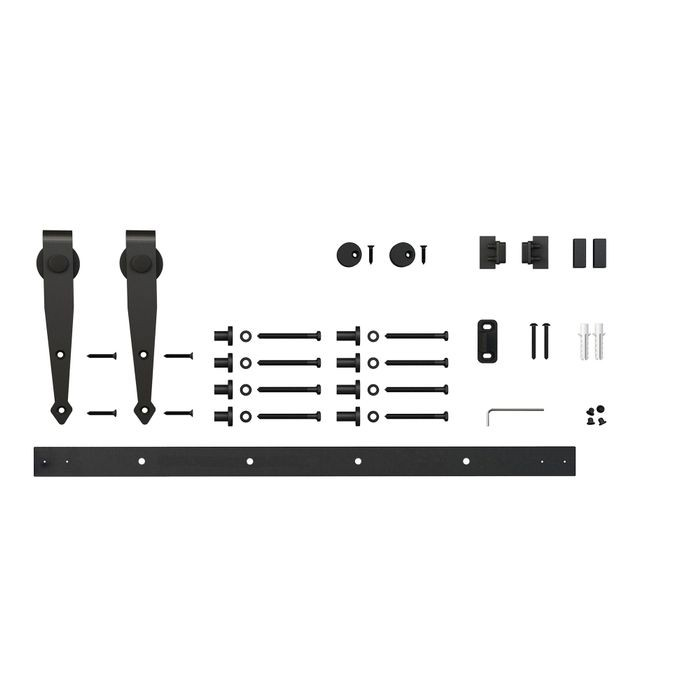 5ft Arrow Furniture Sliding Barn Door Hardware Kit for Single Door up to 30in W | Black Powder Coated Finish