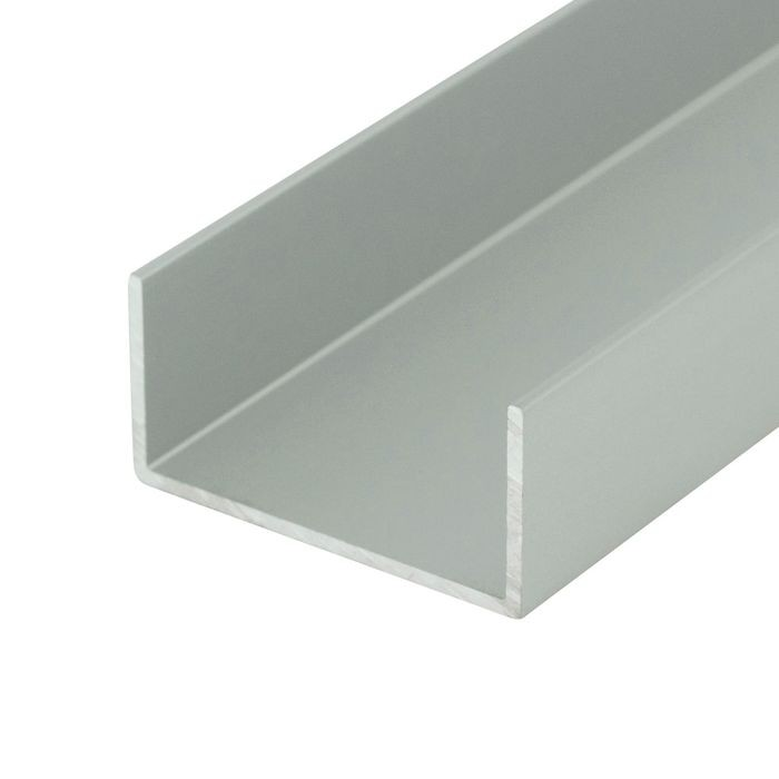 1-3/8in | Clear Anodized (Satin) Finish | Aluminum U Channel Moulding | 12ft Length