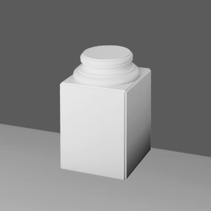 Orac Decor | High Density Polyurethane Whole Column Base | Primed White |  22-5/8in H x 13-3/4in W