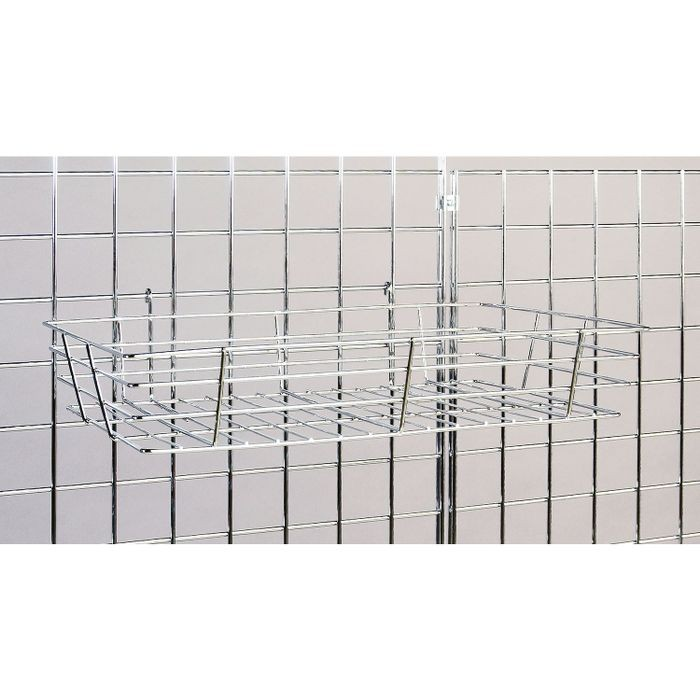 "12""D X12""W X 4""H Bright Chrome Small Basket For Gridwall"