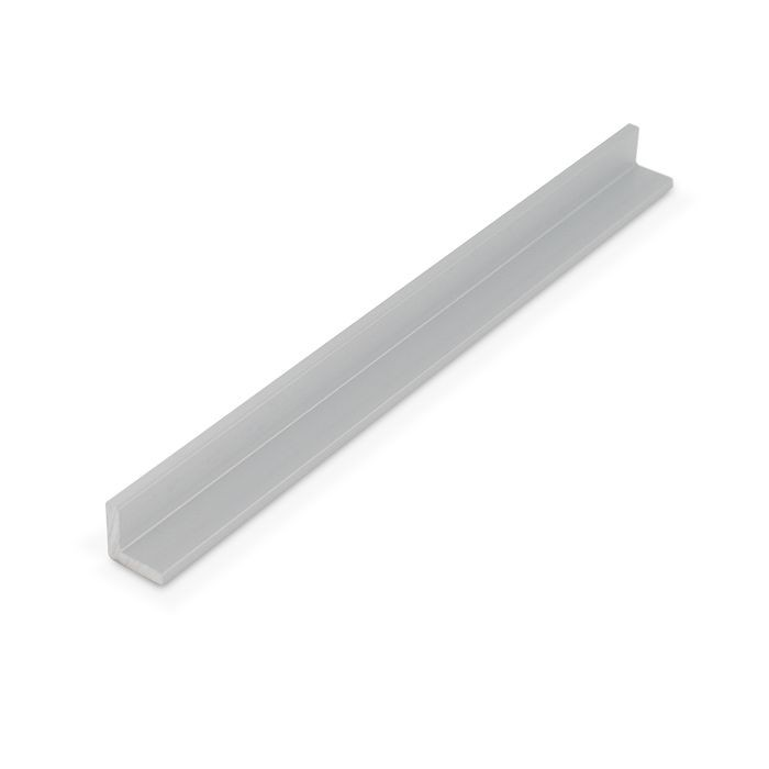 1/2in x 1/2in x 1/8in Thick | Clear Anodized (Satin) Finish Aluminum Even Leg | 90° Angle Moulding | 12ft Length