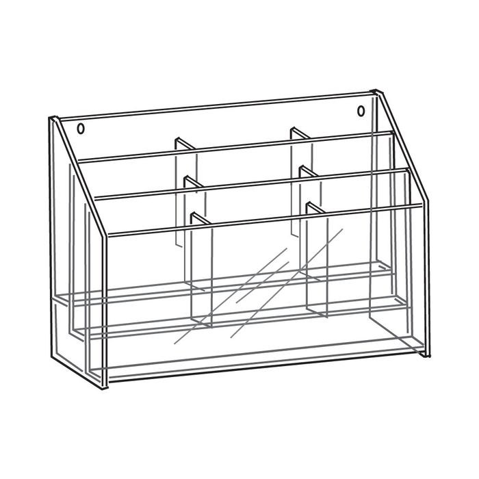 "11"" High x 8-1/2"" Wide 9 Pocket 3 Tier Acrylic Brochure Holder"