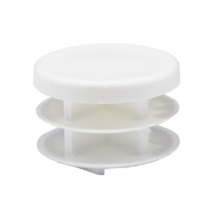 1-1/4in Dia | 14 - 23 Gauge | White Matte Finish Textured Low Density Polyethylene | Plastic Universal Gauge Inside End Cap for Tubing