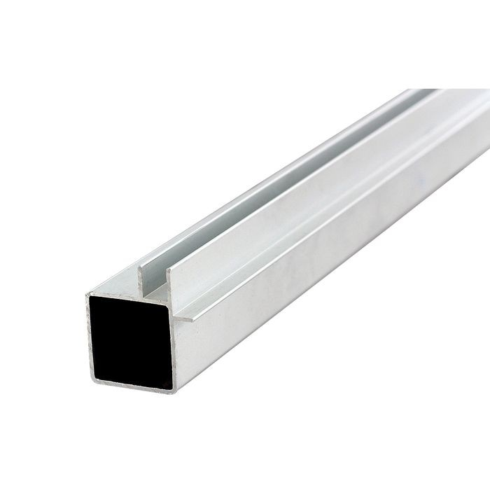 "1"" Square Flange Clear Anodized Single Channel Aluminum Tubing for 1/4"" Panel 8' Length"