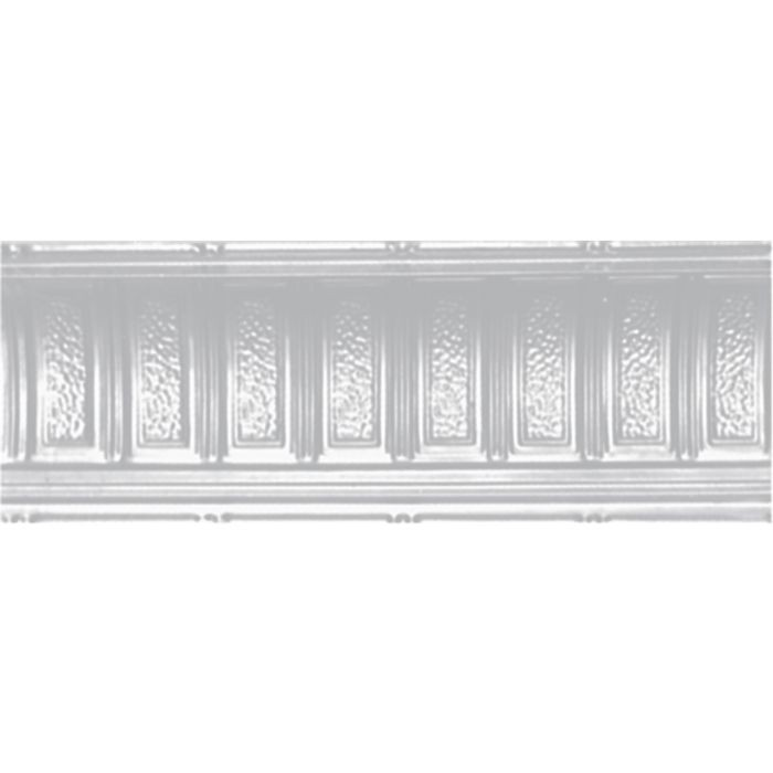 Tin Plated Stamped Steel Cornice | 6in H x 9-1/4in W x 6in Proj | White Finish | 4ft Long