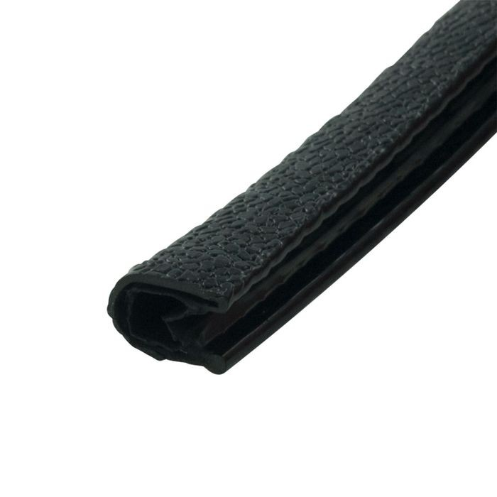 "1/8"" Black Embossed PVC with Segmented Aluminum Core Flexible U Channel Moulding 100' Coil"