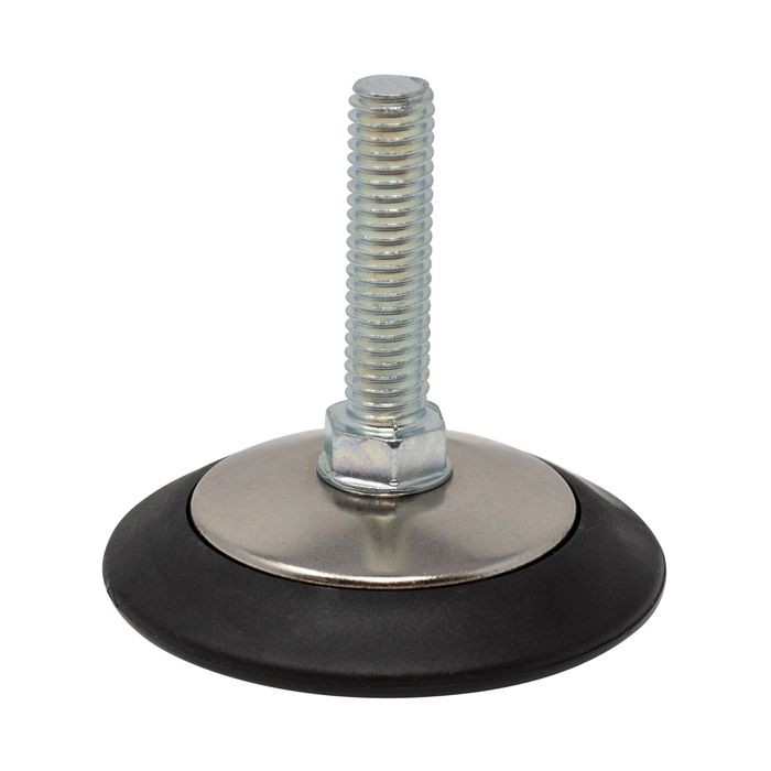 3/8-16 X 1-1/2in Long | 2-1/2in Dia Nickel Plated with Black Nylon Base | Heavy Duty Leveler