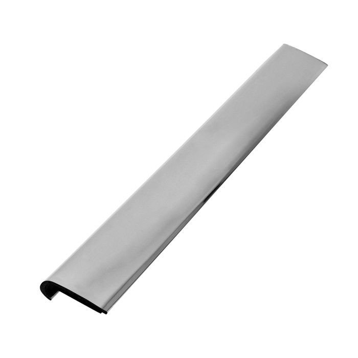 1/4in x 3/4in | Polished Chrome ABS With Mylar Film Uneven Leg | Lipped 90° Angle Moulding With Adhesive | 12ft Length