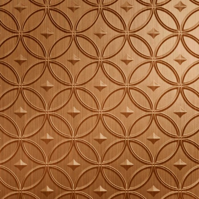 10' Wide x 4' Long Celestial Pattern Brushed Copper Finish Thermoplastic Flexlam Wall Panel