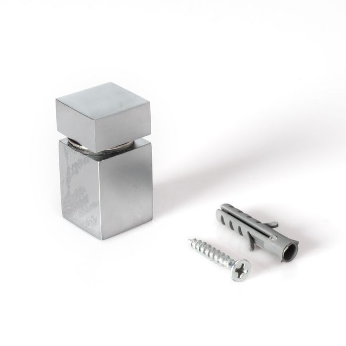 "3/4"" Square x 1"" Barrel Length Matte Chrome Finish Euro Square Easy Fasten Standoff"