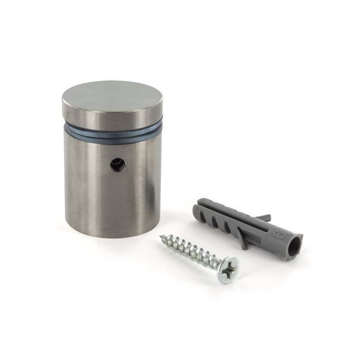 "1"" Diameter x 1"" Barrel Length Brushed Stainless Finish Eco Lock Series Tamper Proof Standoff"
