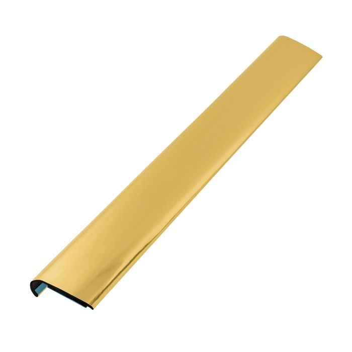 1/4in x 3/4in | Polished Brass ABS With Mylar Film Uneven Leg | Lipped 90° Angle Moulding With Adhesive | 12ft Length