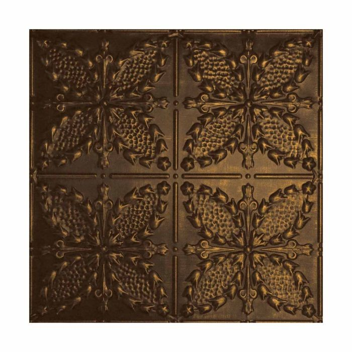 Tin Plated Stamped Steel Ceiling Tile | Lay In | 2ft Sq | Oiled Bronze Finish