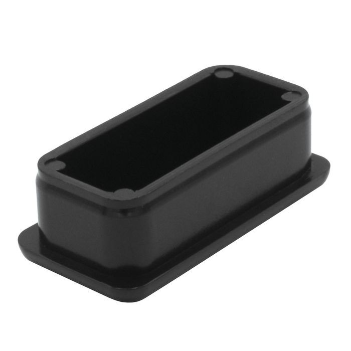 1in x 2in Rectangular | 16 Gauge Black Finish ABS | Plastic Inside End Cap for Tubing