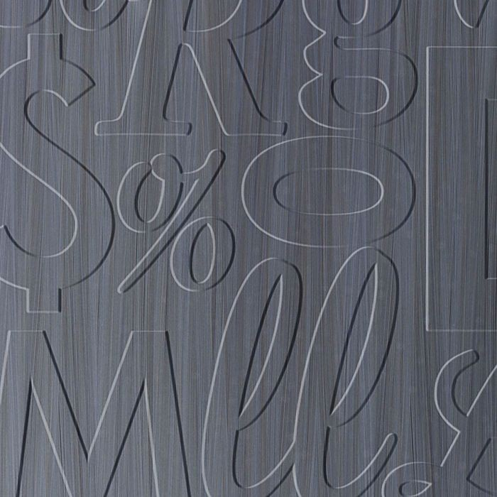 10' Wide x 4' Long Alphabet Soup Pattern Steel Strata Finish Thermoplastic Flexlam Wall Panel