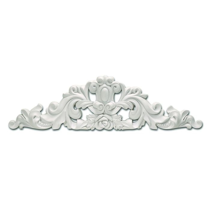 "35-9/16"" Wide x 8-7/8"" High Primed White Polyurethane Cameo Accent Applique"