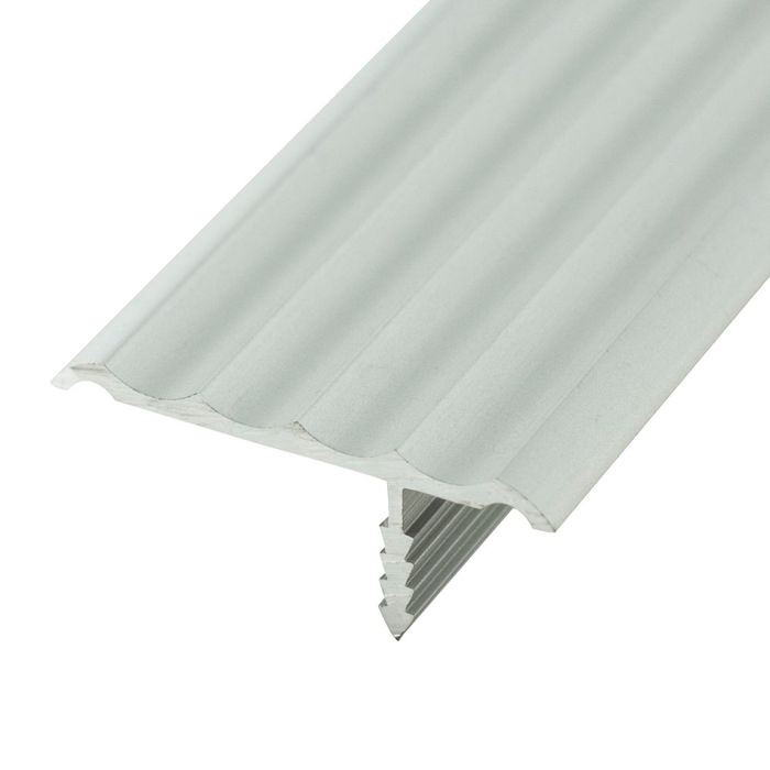 1-1/4in Clear Anodized (Satin) Finish | Rigid Aluminum | Offset Barb Rippled Tee Moulding | 12ft Length