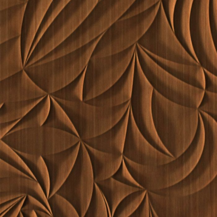 10' Wide x 4' Long Sculpted Petals Pattern Pearwood Finish Thermoplastic Flexlam Wall Panel