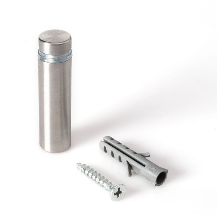 "1/2"" Diameter x 1-1/2"" Barrel Length Brushed Stainless Finish Eco Lite Series Easy Fasten Standoff"