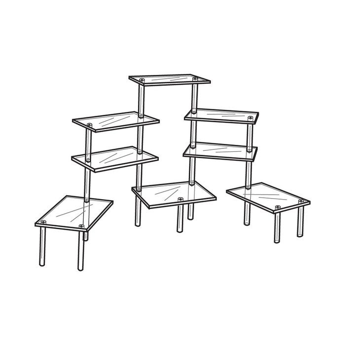 "Tiered Table Disp. 8  4 1/2"" X 9"" Shelves"