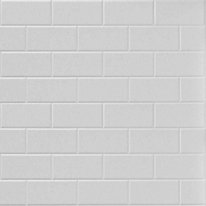 10' Wide x 4' Long Subway Tile Pattern White Finish Thermoplastic Flexlam Wall Panel