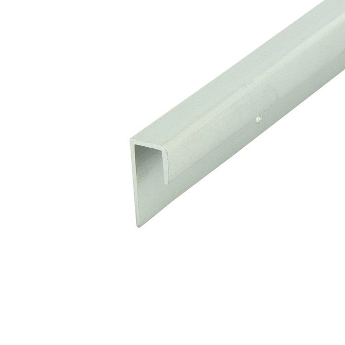 "1/4"" to 9/32"" Clear Anodized (Satin) Finish Aluminum Cap Moulding With Holes 12' Length"